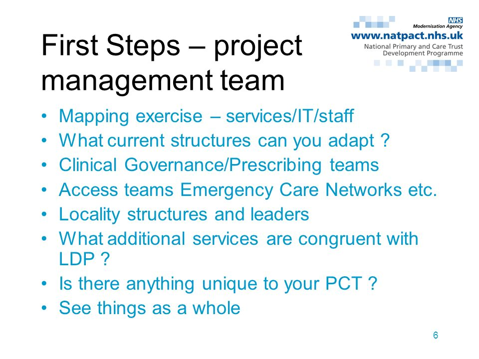 6 First Steps – project management team Mapping exercise – services/IT/staff What current structures can you adapt ? Clinical Governance/Prescribing t