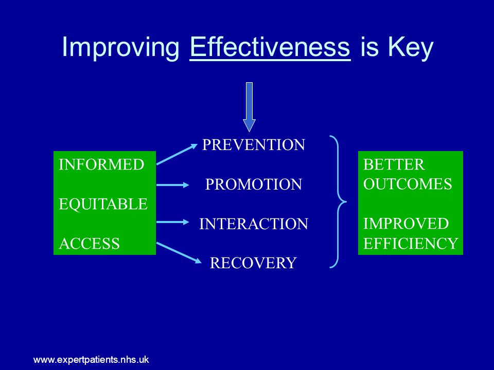 www.expertpatients.nhs.uk Improving Effectiveness is Key INFORMED EQUITABLE ACCESS BETTER OUTCOMES IMPROVED EFFICIENCY PREVENTION PROMOTION INTERACTION RECOVERY