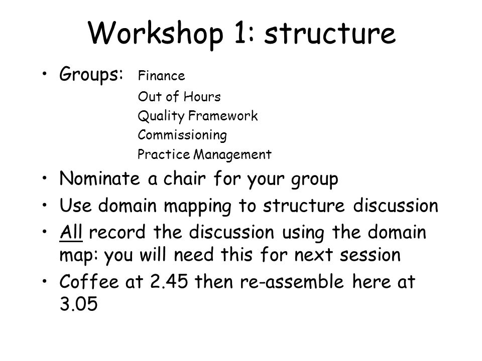 Workshop 1: structure Groups: Finance Out of Hours Quality Framework Commissioning Practice Management Nominate a chair for your group Use domain mapping to structure discussion All record the discussion using the domain map: you will need this for next session Coffee at 2.45 then re-assemble here at 3.05