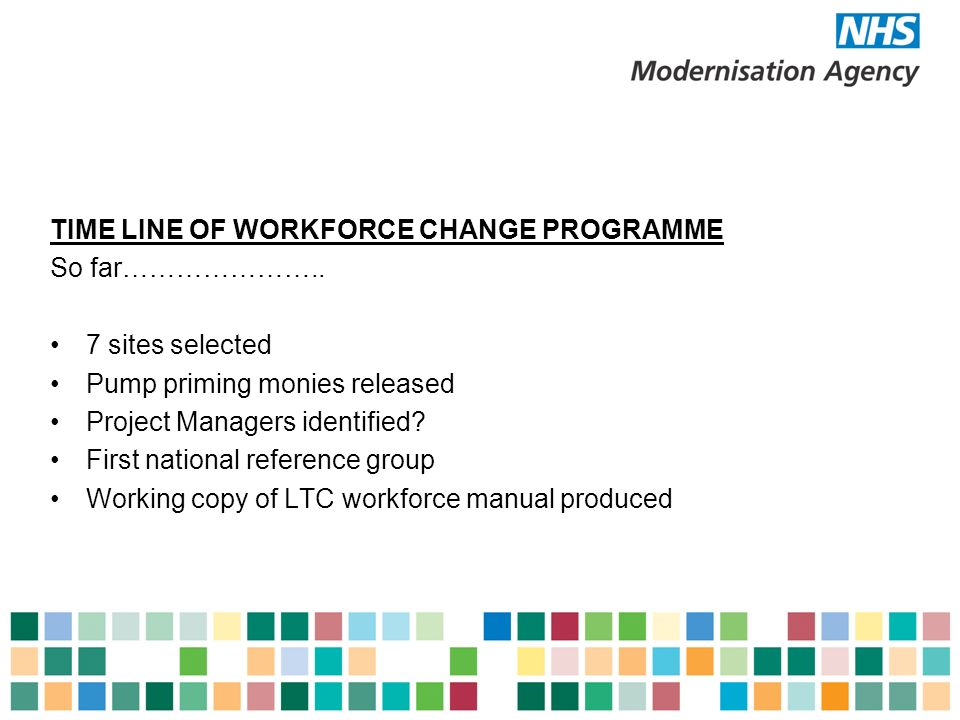TIME LINE OF WORKFORCE CHANGE PROGRAMME So far…………………..