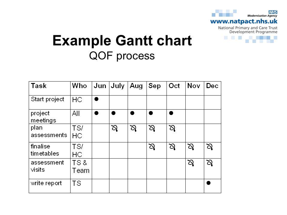 Example Gantt chart QOF process