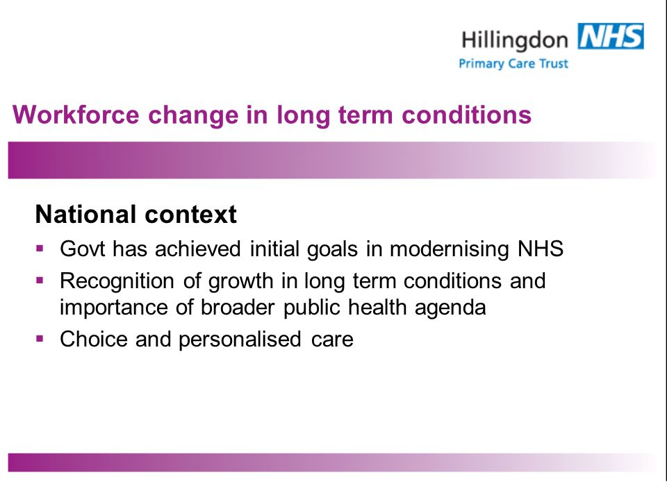 Workforce change in long term conditions National context Govt has achieved initial goals in modernising NHS Recognition of growth in long term conditions and importance of broader public health agenda Choice and personalised care