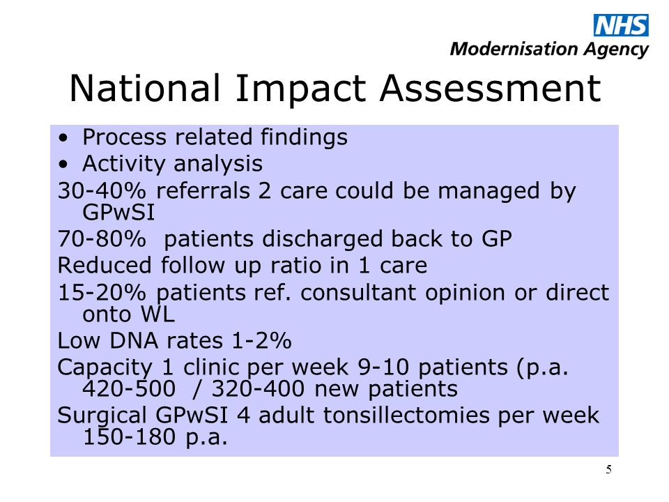 5 National Impact Assessment Process related findings Activity analysis 30-40% referrals 2 care could be managed by GPwSI 70-80% patients discharged back to GP Reduced follow up ratio in 1 care 15-20% patients ref.