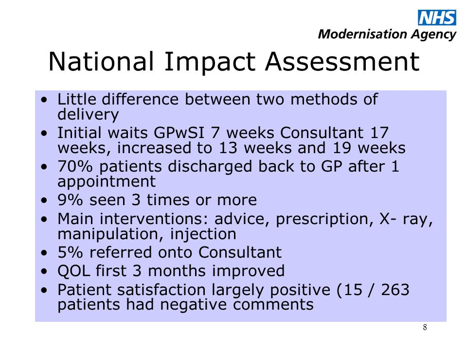 8 National Impact Assessment Little difference between two methods of delivery Initial waits GPwSI 7 weeks Consultant 17 weeks, increased to 13 weeks and 19 weeks 70% patients discharged back to GP after 1 appointment 9% seen 3 times or more Main interventions: advice, prescription, X- ray, manipulation, injection 5% referred onto Consultant QOL first 3 months improved Patient satisfaction largely positive (15 / 263 patients had negative comments