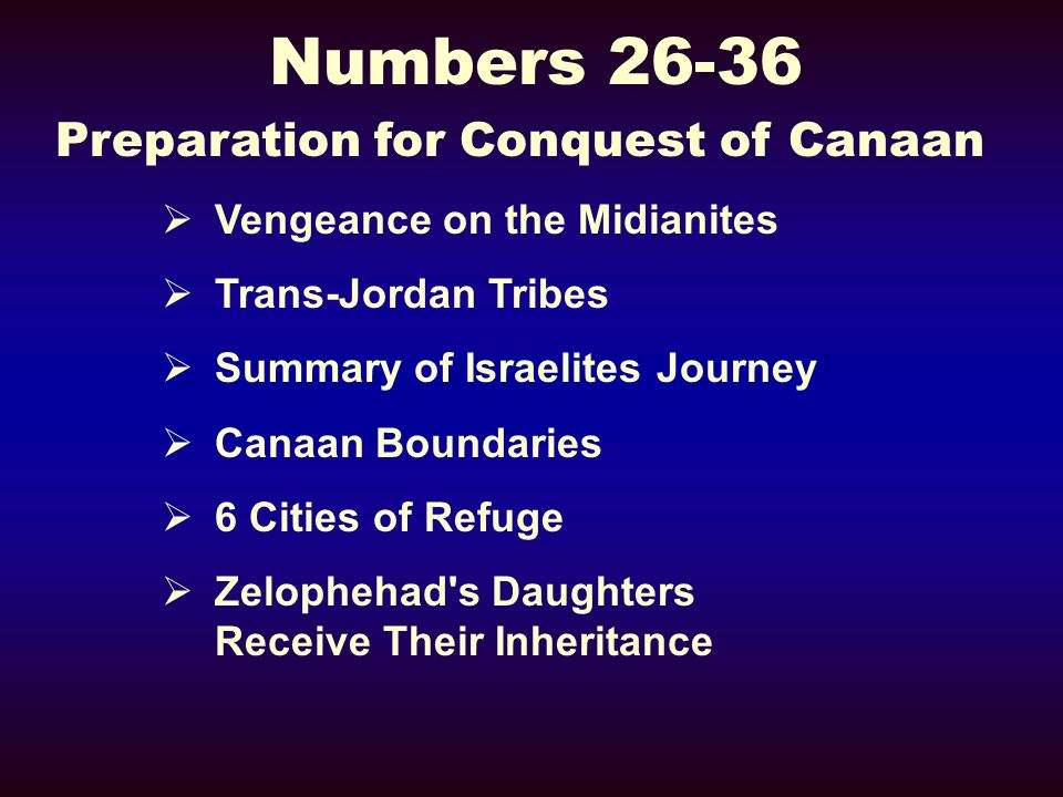 Numbers 26-36 Preparation for Conquest of Canaan Vengeance on the Midianites Trans-Jordan Tribes Summary of Israelites Journey Canaan Boundaries 6 Cities of Refuge Zelophehad s Daughters Receive Their Inheritance