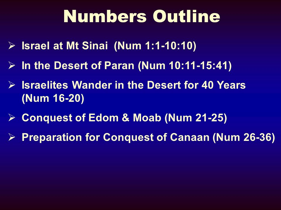 Numbers Outline Israel at Mt Sinai (Num 1:1-10:10) In the Desert of Paran (Num 10:11-15:41) Israelites Wander in the Desert for 40 Years (Num 16-20) Conquest of Edom & Moab (Num 21-25) Preparation for Conquest of Canaan (Num 26-36)