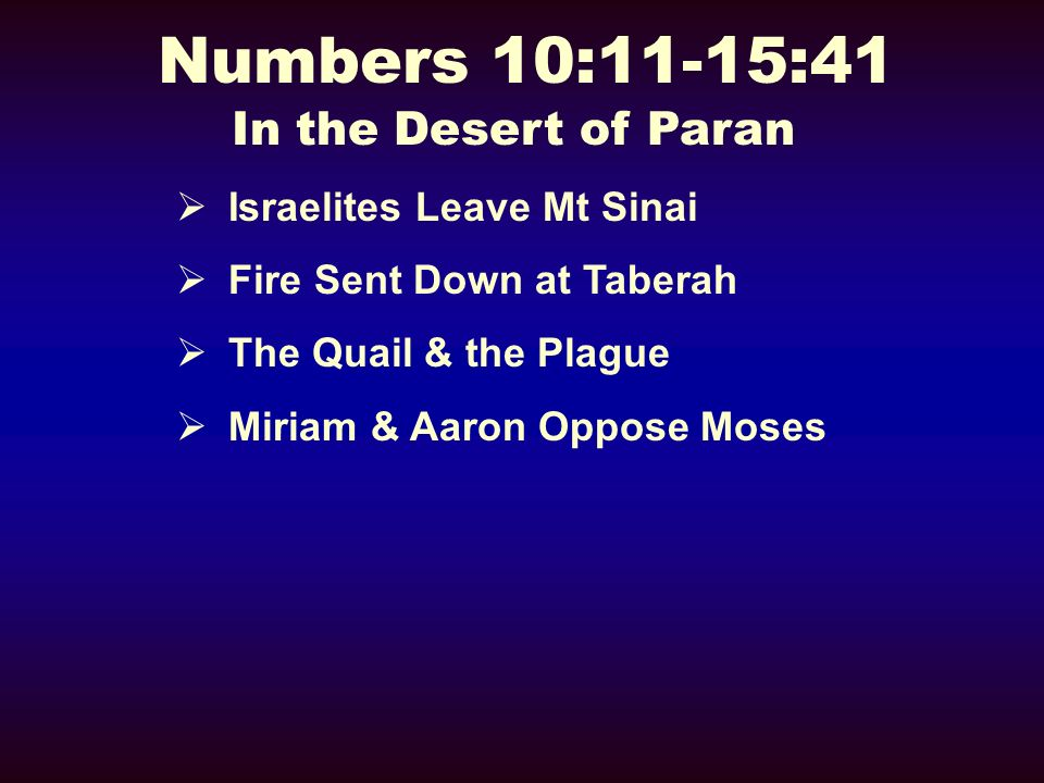 Numbers 10:11-15:41 In the Desert of Paran Israelites Leave Mt Sinai Fire Sent Down at Taberah The Quail & the Plague Miriam & Aaron Oppose Moses