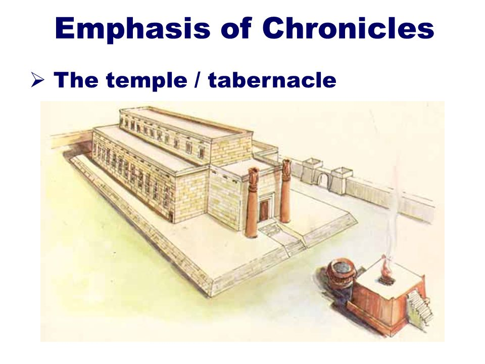 10 Emphasis of Chronicles The temple / tabernacle Two purposes: Sacrifices Communication with God