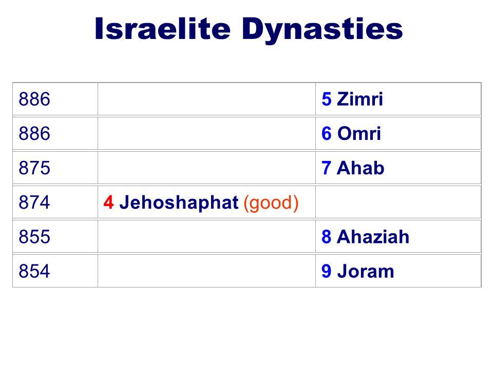 23 Israelite Dynasties 886 5 Zimri 886 6 Omri 875 7 Ahab 8744 Jehoshaphat (good) 855 8 Ahaziah 854 9 Joram