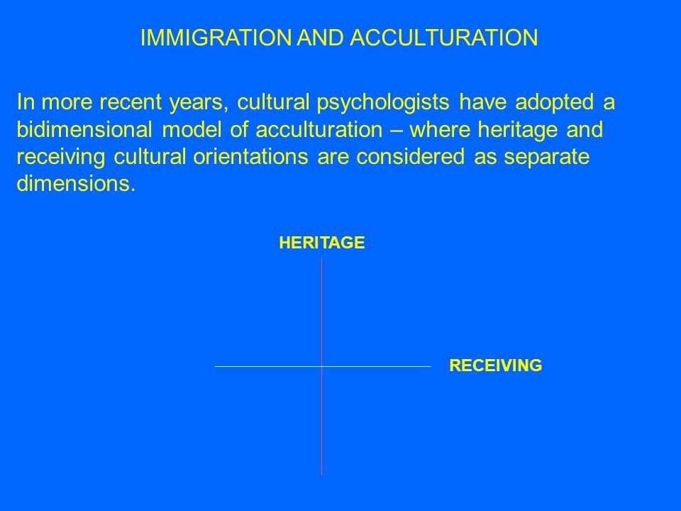 MULTIDIMENSIONALITY OF ACCULTURATION Acculturation is multidimensional in terms of heritage and receiving cultural orientations – but it is also multidimensional in terms of the domains in which it operates: 1.
