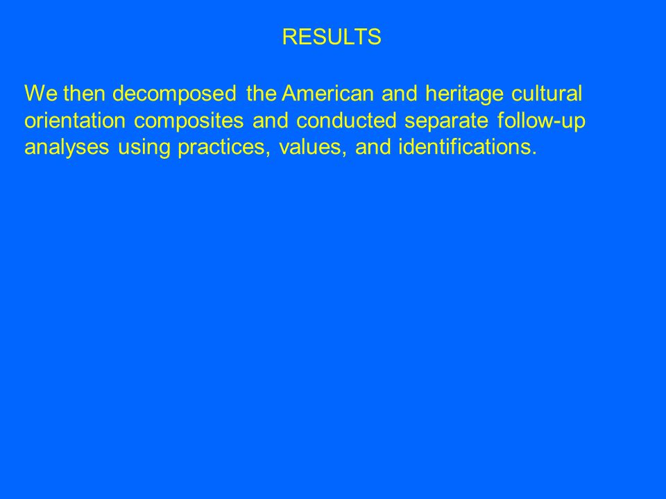 We then decomposed the American and heritage cultural orientation composites and conducted separate follow-up analyses using practices, values, and identifications.