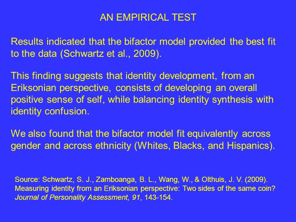 Results indicated that the bifactor model provided the best fit to the data (Schwartz et al., 2009).