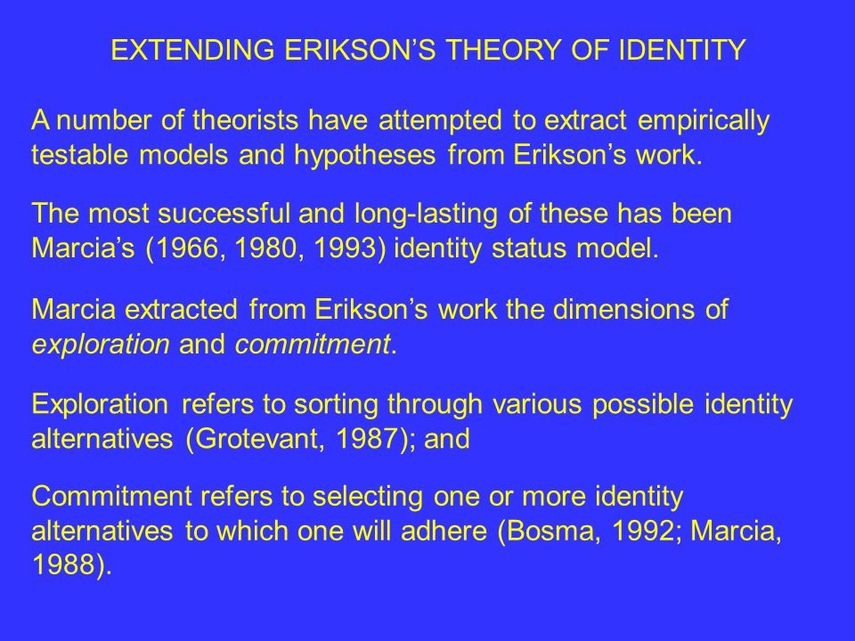 EXTENDING ERIKSONS THEORY OF IDENTITY A number of theorists have attempted to extract empirically testable models and hypotheses from Eriksons work.