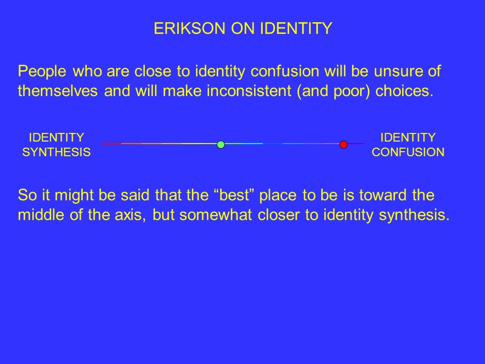 IDENTITY SYNTHESIS IDENTITY CONFUSION ERIKSON ON IDENTITY People who are close to identity confusion will be unsure of themselves and will make inconsistent (and poor) choices.