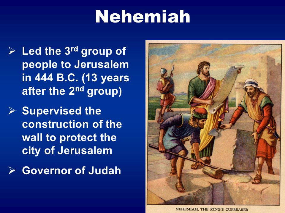 20 Nehemiah Led the 3 rd group of people to Jerusalem in 444 B.C. (13 years after the 2 nd group) Supervised the construction of the wall to protect t