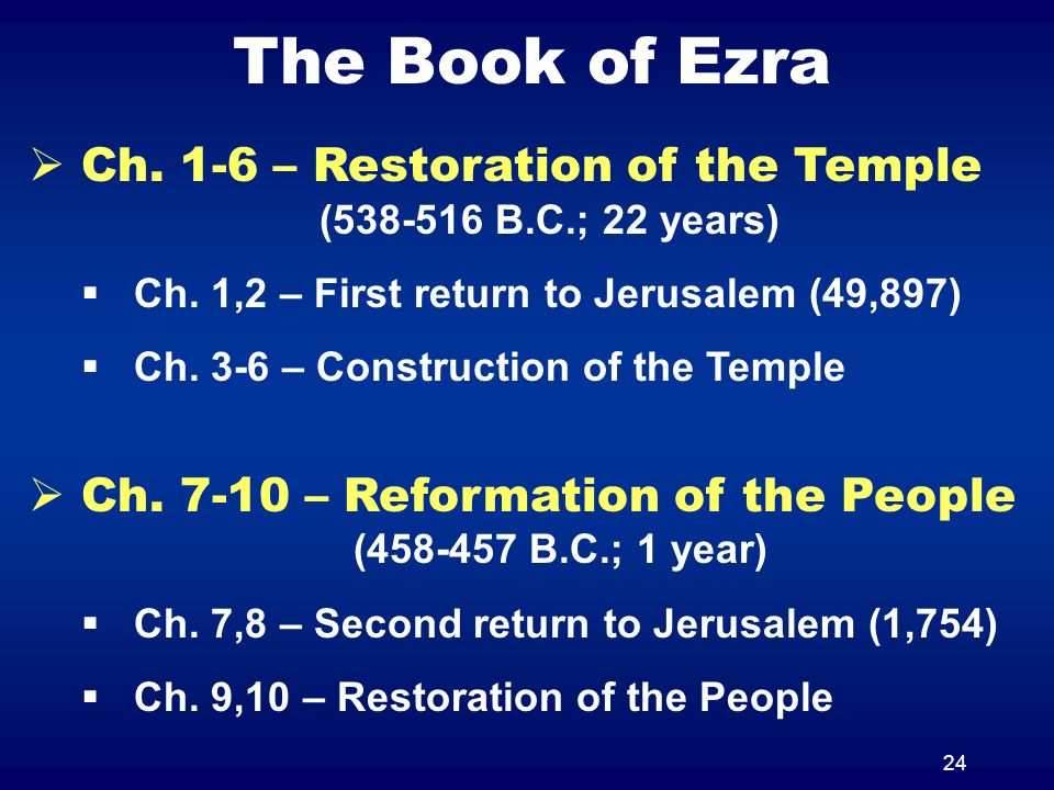 24 The Book of Ezra Ch. 1-6 – Restoration of the Temple (538-516 B.C.; 22 years) Ch.