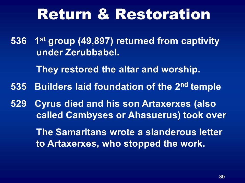 39 Return & Restoration 536 1 st group (49,897) returned from captivity under Zerubbabel. They restored the altar and worship. 535 Builders laid found