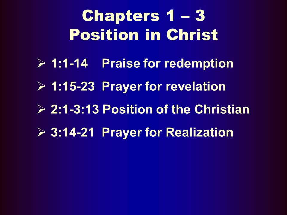 Chapters 1 – 3 Position in Christ 1:1-14 Praise for redemption 1:15-23 Prayer for revelation 2:1-3:13 Position of the Christian 3:14-21 Prayer for Realization