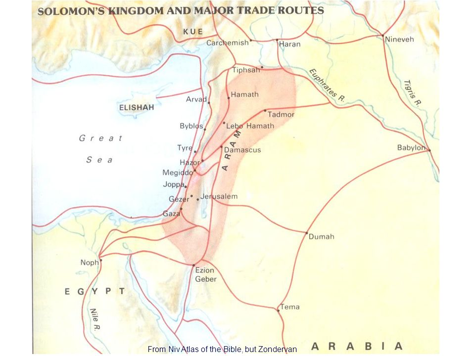 11 Solomons Kingdom From Niv Atlas of the Bible, but Zondervan