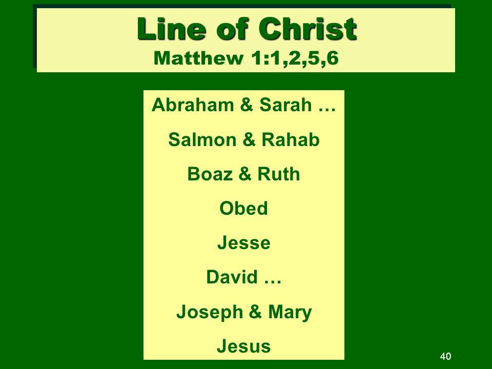 40 Line of Christ Line of Christ Matthew 1:1,2,5,6 Abraham & Sarah … Salmon & Rahab Boaz & Ruth Obed Jesse David … Joseph & Mary Jesus