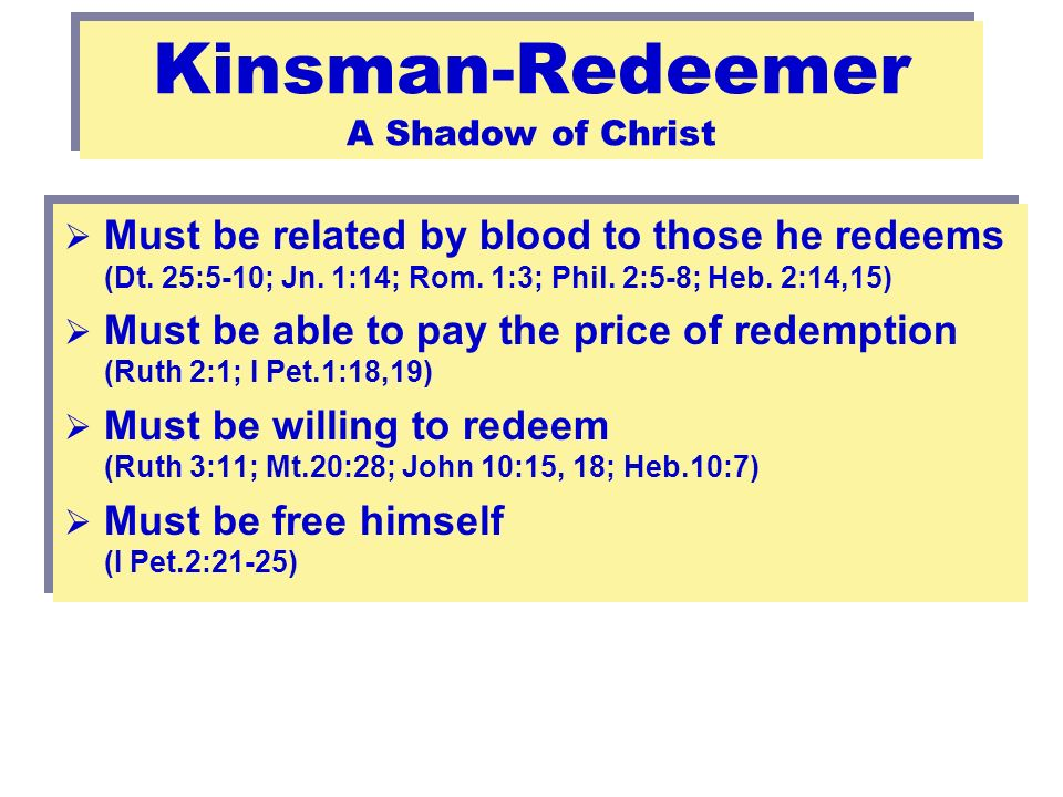 53 Kinsman-Redeemer A Shadow of Christ Must be related by blood to those he redeems (Dt.