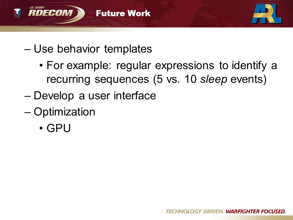 Future Work –Use behavior templates For example: regular expressions to identify a recurring sequences (5 vs. 10 sleep events) –Develop a user interfa