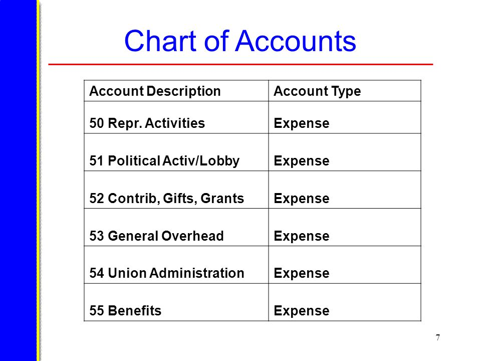 7 Chart of Accounts Account DescriptionAccount Type 50 Repr.