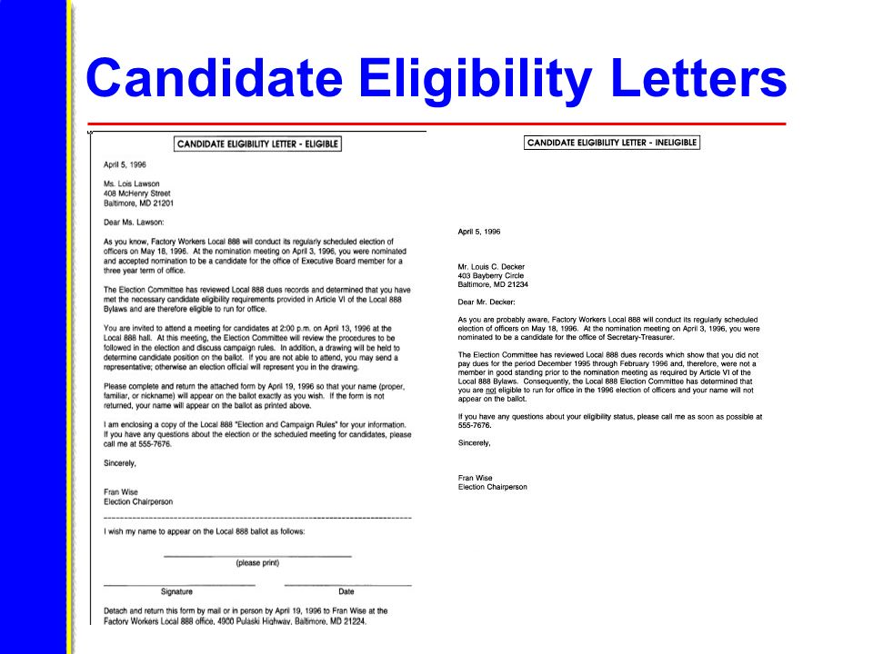 Candidate Eligibility Letters