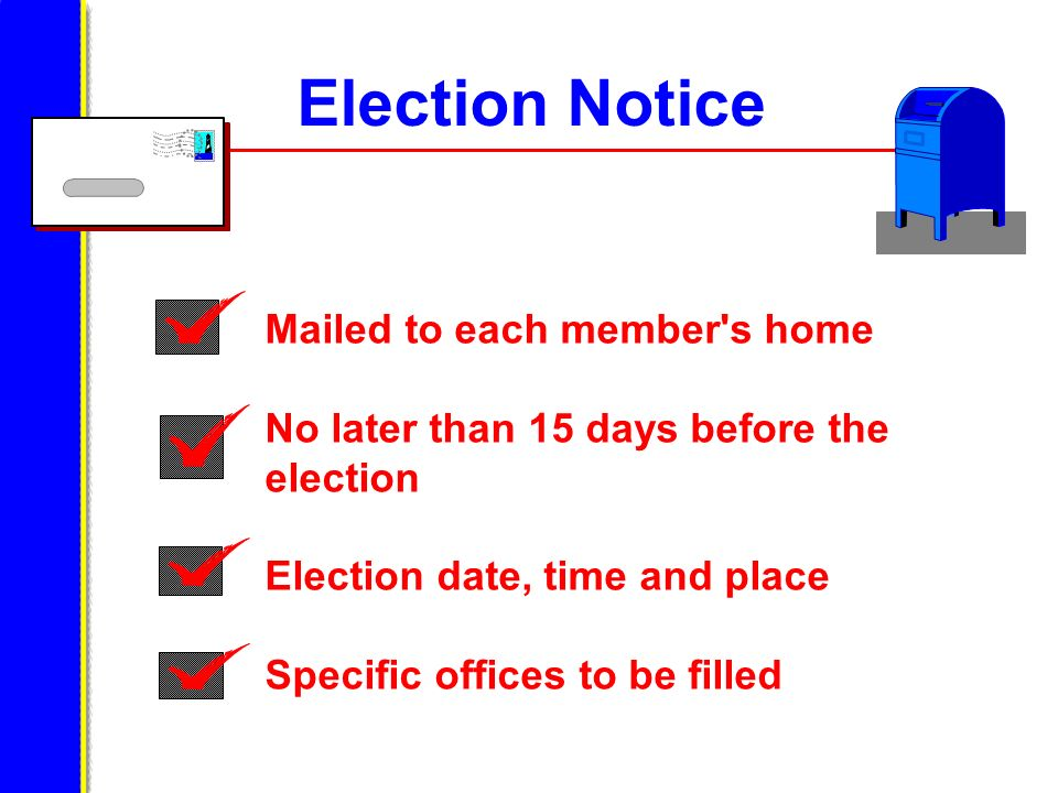 Election Notice Mailed to each member's home No later than 15 days before the election Election date, time and place Specific offices to be filled
