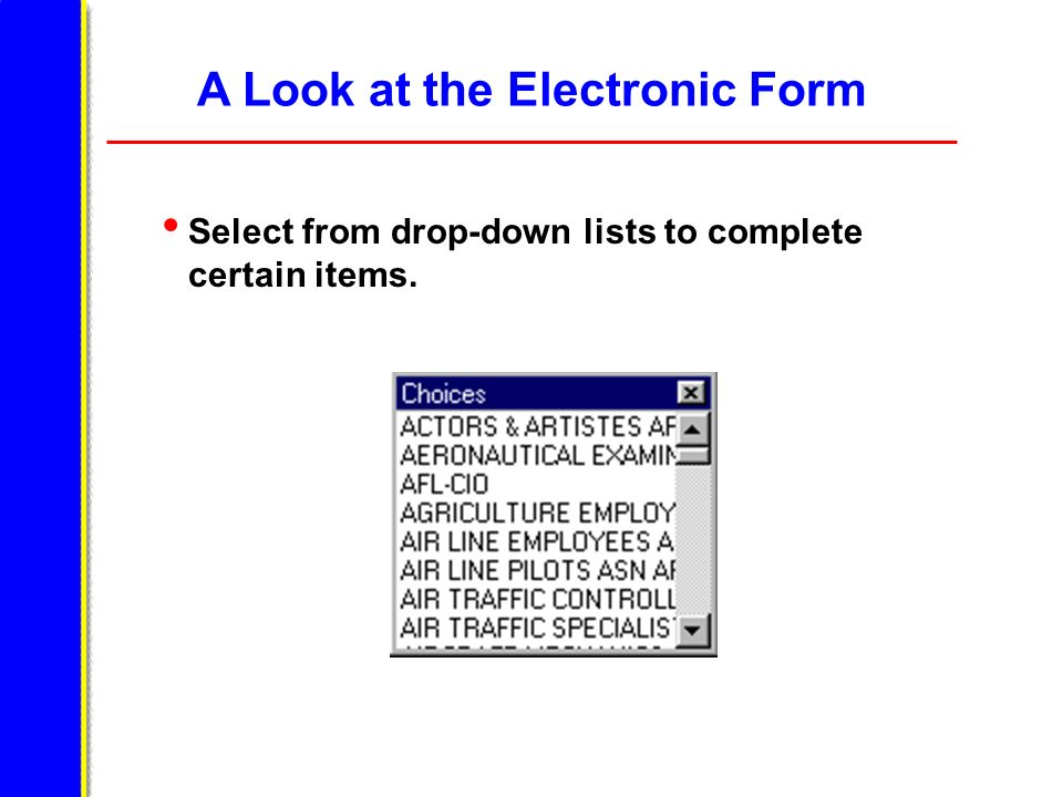 A Look at the Electronic Form Select from drop-down lists to complete certain items.