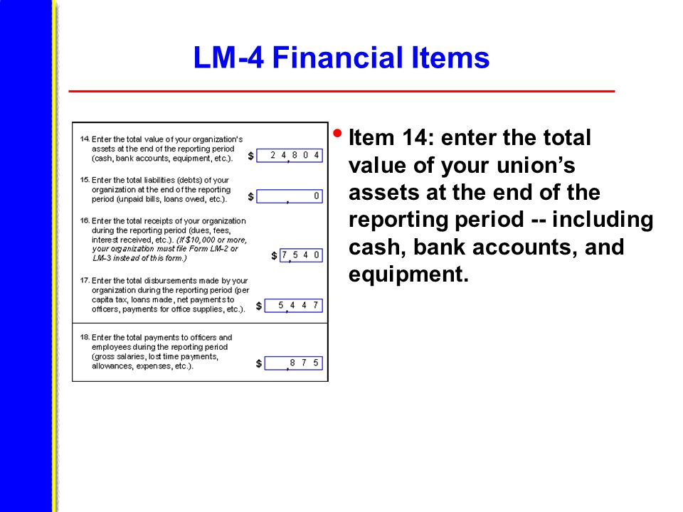LM-4 Financial Items Item 14: enter the total value of your unions assets at the end of the reporting period -- including cash, bank accounts, and equ
