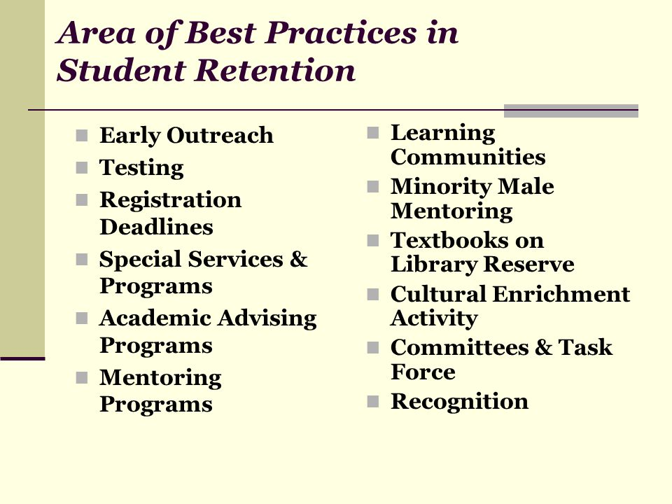 Area of Best Practices in Student Retention Early Outreach Testing Registration Deadlines Special Services & Programs Academic Advising Programs Mento
