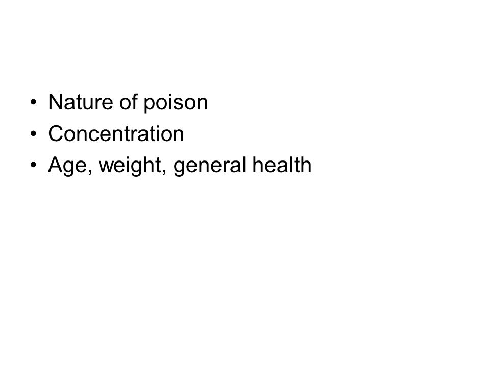 Nature of poison Concentration Age, weight, general health