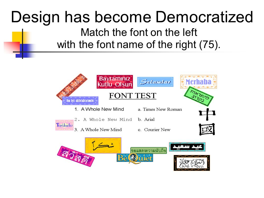 Design has become Democratized Match the font on the left with the font name of the right (75).