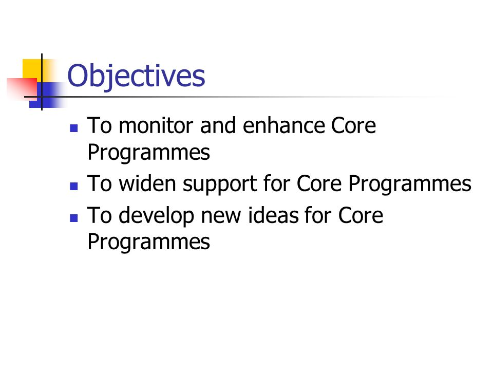 Objectives To monitor and enhance Core Programmes To widen support for Core Programmes To develop new ideas for Core Programmes