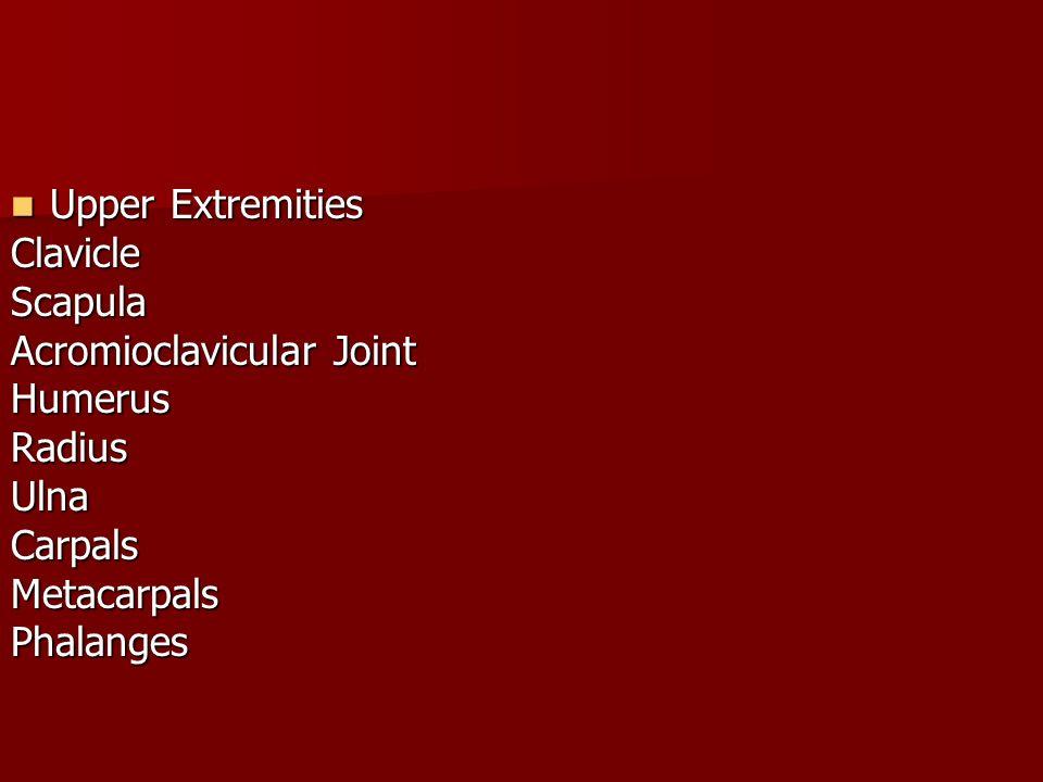 Upper Extremities Upper ExtremitiesClavicleScapula Acromioclavicular Joint HumerusRadiusUlnaCarpalsMetacarpalsPhalanges