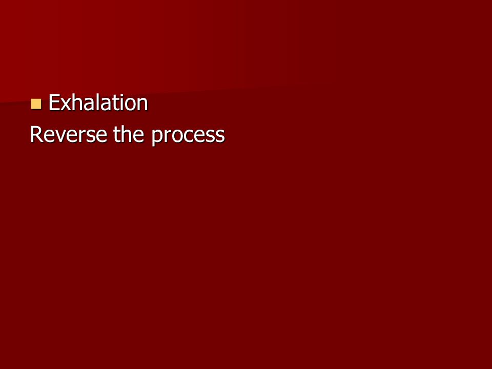 Exhalation Exhalation Reverse the process