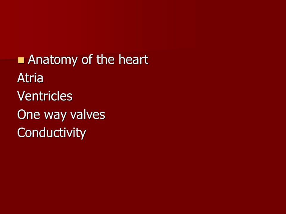 Anatomy of the heart Anatomy of the heartAtriaVentricles One way valves Conductivity