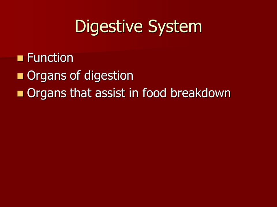 Digestive System Function Function Organs of digestion Organs of digestion Organs that assist in food breakdown Organs that assist in food breakdown