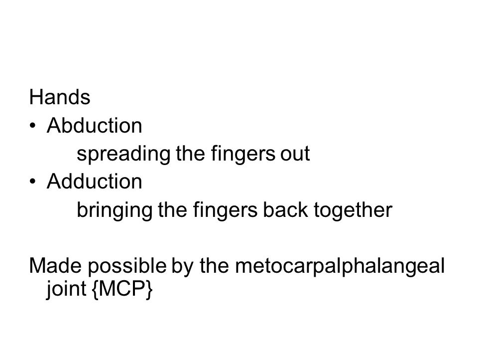 Hands Abduction spreading the fingers out Adduction bringing the fingers back together Made possible by the metocarpalphalangeal joint {MCP}