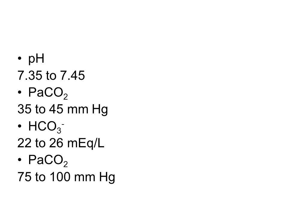 pH 7.35 to 7.45 PaCO 2 35 to 45 mm Hg HCO 3 - 22 to 26 mEq/L PaCO 2 75 to 100 mm Hg