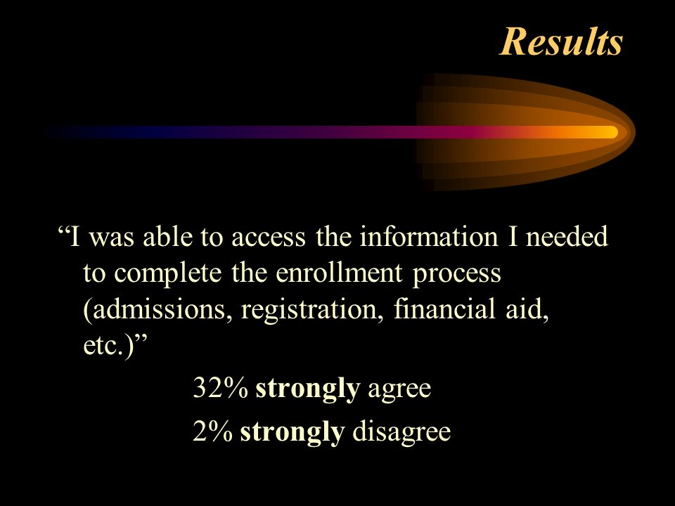 Results I was able to access the information I needed to complete the enrollment process (admissions, registration, financial aid, etc.) 32% strongly agree 2% strongly disagree