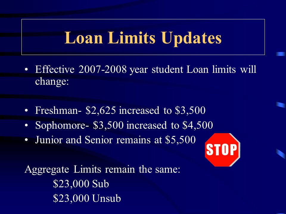Loan Limits Updates Effective 2007-2008 year student Loan limits will change: Freshman- $2,625 increased to $3,500 Sophomore- $3,500 increased to $4,500 Junior and Senior remains at $5,500 Aggregate Limits remain the same: $23,000 Sub $23,000 Unsub