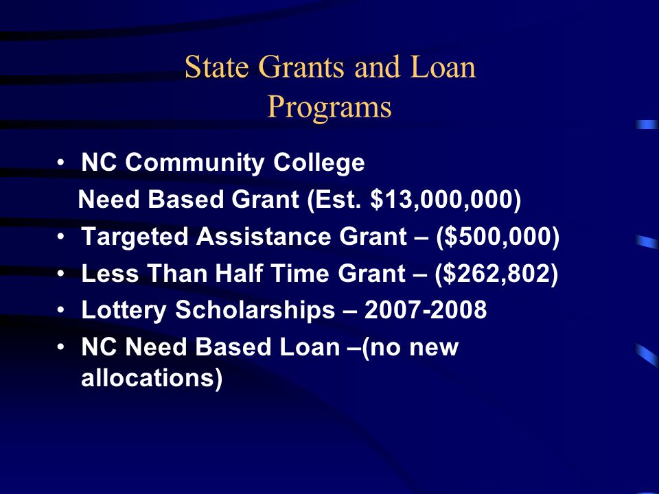 State Grants and Loan Programs NC Community College Need Based Grant (Est.
