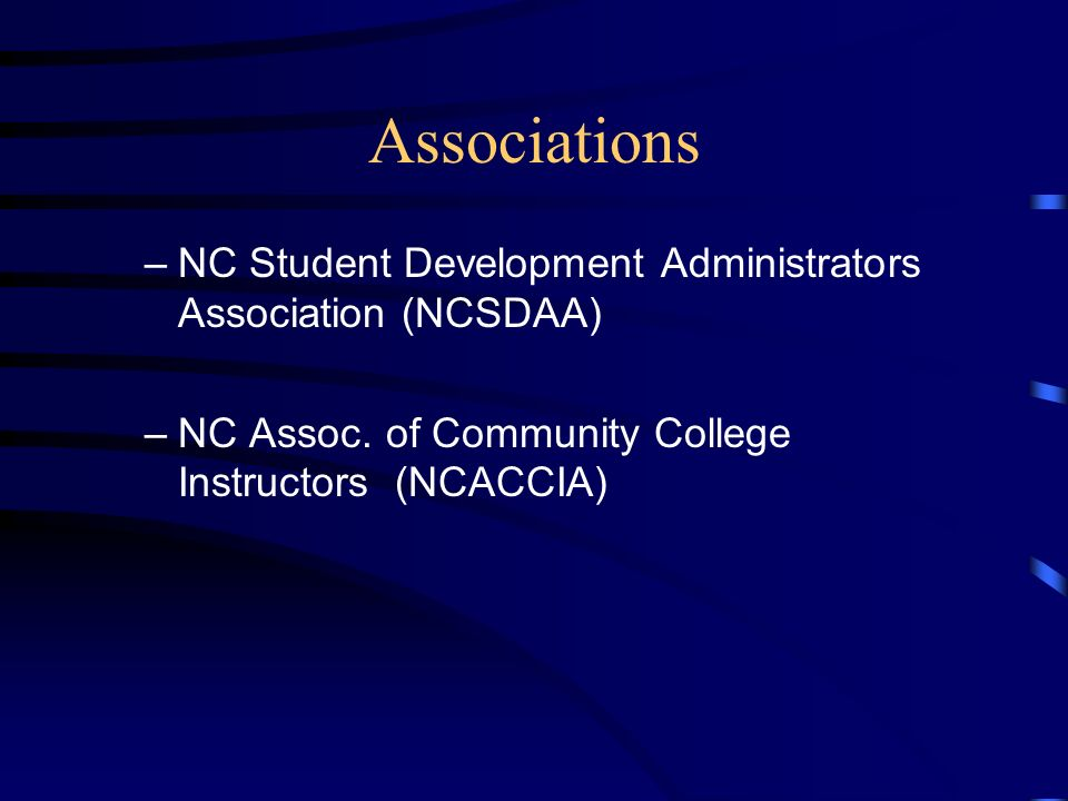Associations Carolina Association of College Registrars and Admissions Officers (CACRAO) NC Association of Student Financial Aid Administrators (NCASFAA) Southern Assoc.