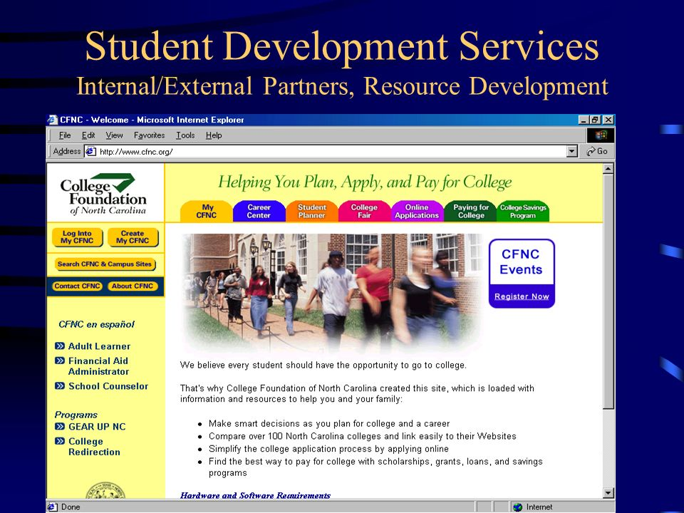 Student Development Services Website Information Collaborate in the development of retention programs Monitor Title IV financial aid to support staff Monitor and report on federal and state legislative matters Provide technology support including web based solutions at the system level Support colleges with monitoring residency for tuition policies.