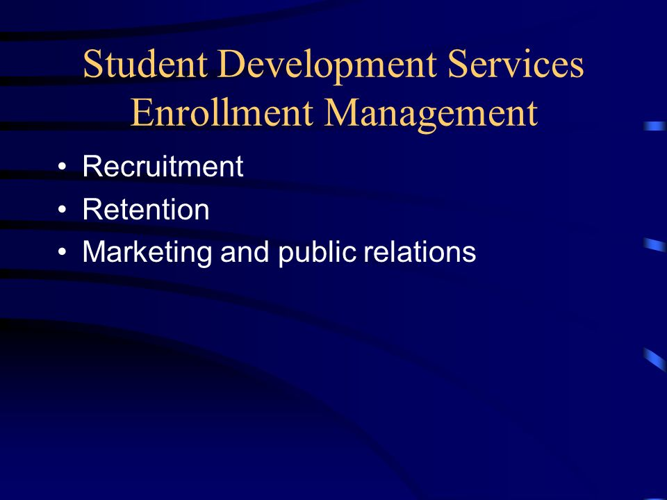Student Development Services Academic Support Services Academic advising Study skills models Developmental courses Academic progress monitoring Student activities Health services Tutoring programs Cooperative education Housing and transportation referrals