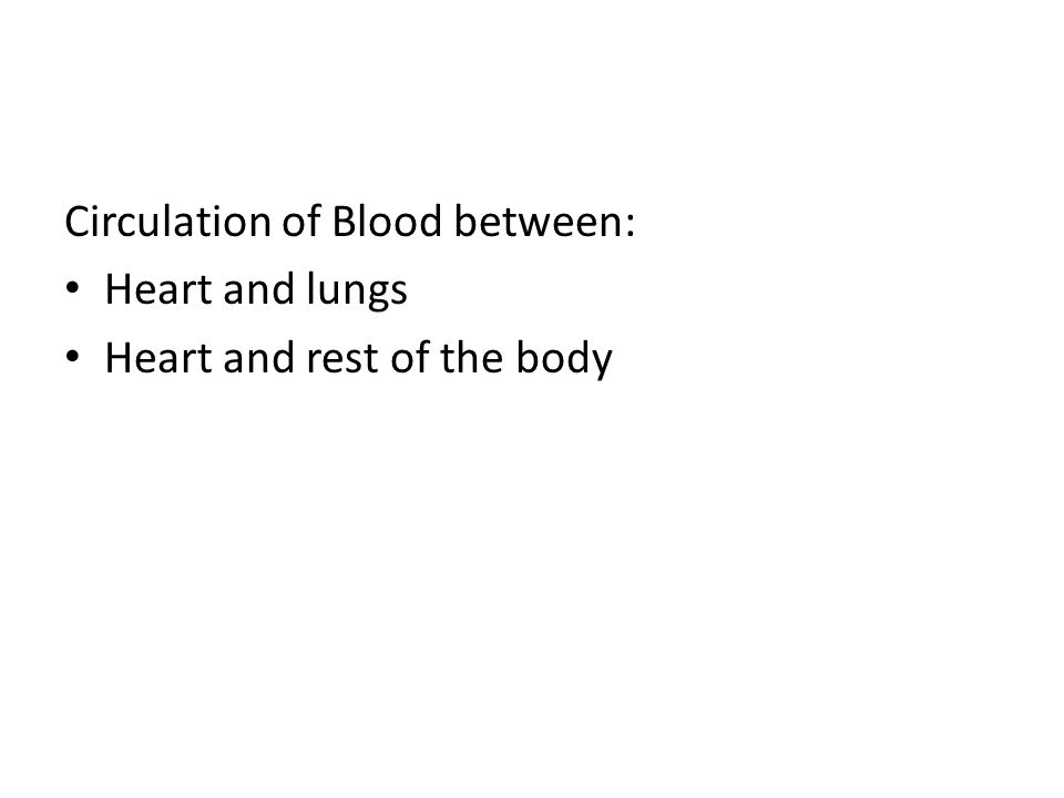 Circulation of Blood between: Heart and lungs Heart and rest of the body