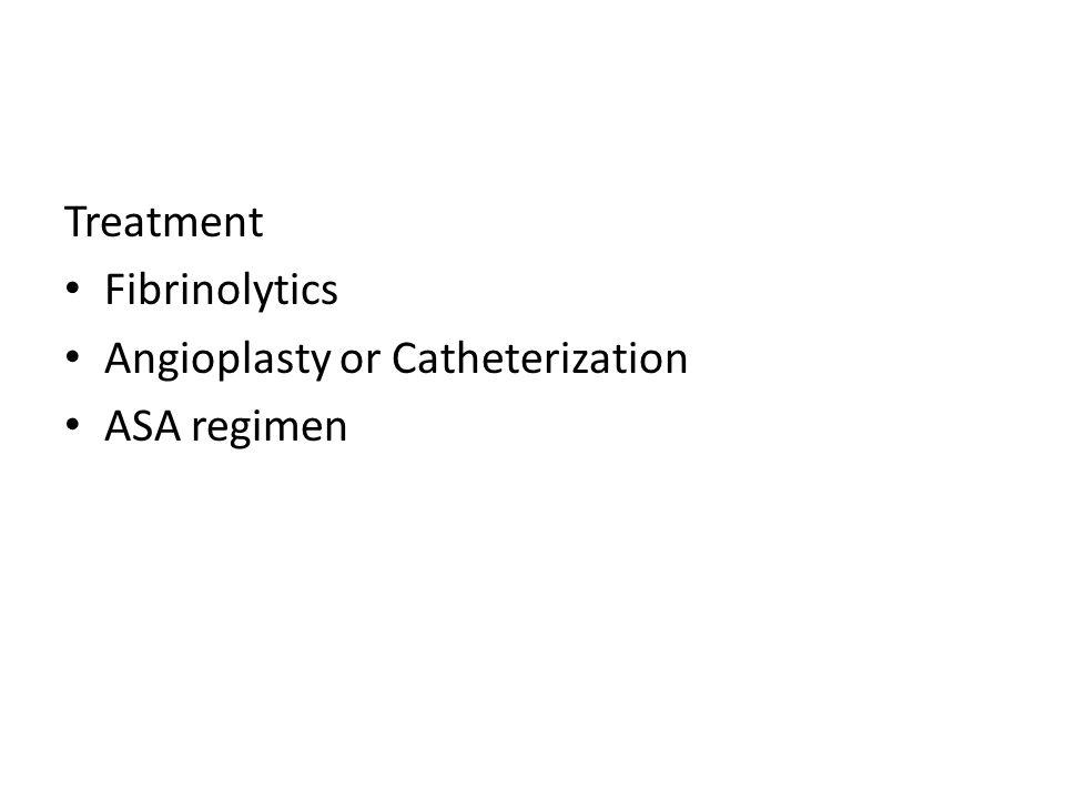 Treatment Fibrinolytics Angioplasty or Catheterization ASA regimen