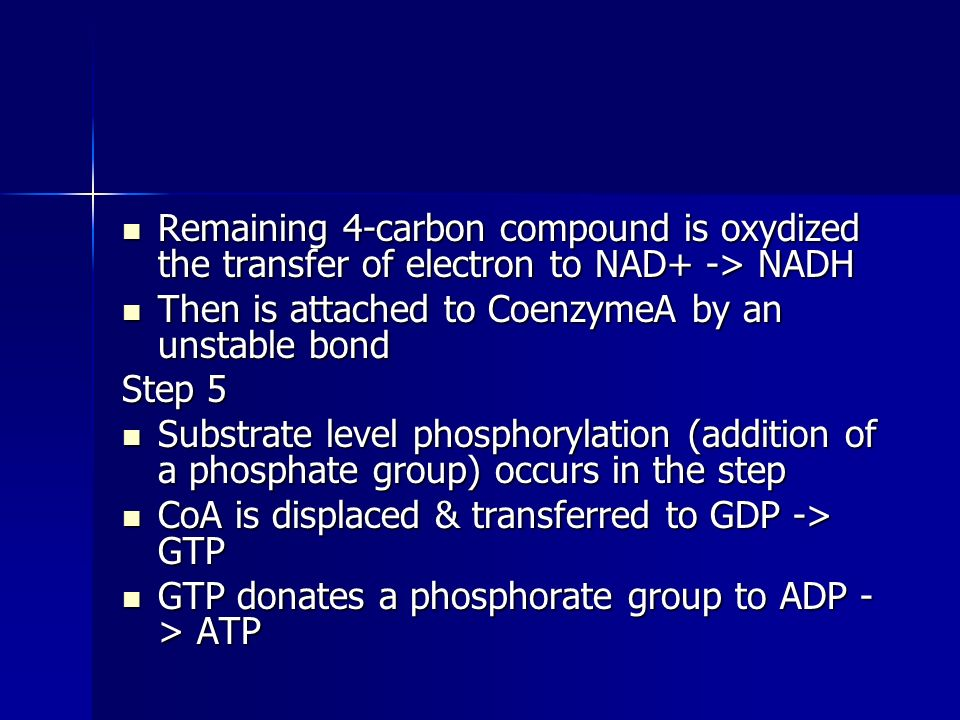 Remaining 4-carbon compound is oxydized the transfer of electron to NAD+ -> NADH Remaining 4-carbon compound is oxydized the transfer of electron to NAD+ -> NADH Then is attached to CoenzymeA by an unstable bond Then is attached to CoenzymeA by an unstable bond Step 5 Substrate level phosphorylation (addition of a phosphate group) occurs in the step Substrate level phosphorylation (addition of a phosphate group) occurs in the step CoA is displaced & transferred to GDP -> GTP CoA is displaced & transferred to GDP -> GTP GTP donates a phosphorate group to ADP - > ATP GTP donates a phosphorate group to ADP - > ATP